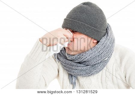 Cold Man Blowing His Nose On Paper Napkin Or Hanky