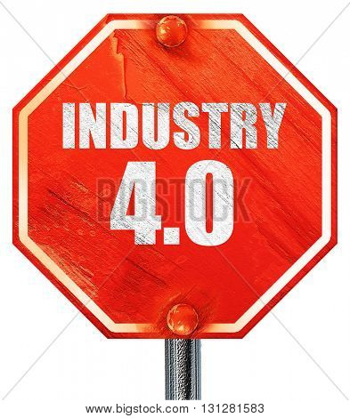 industry 4.0, 3D rendering, a red stop sign
