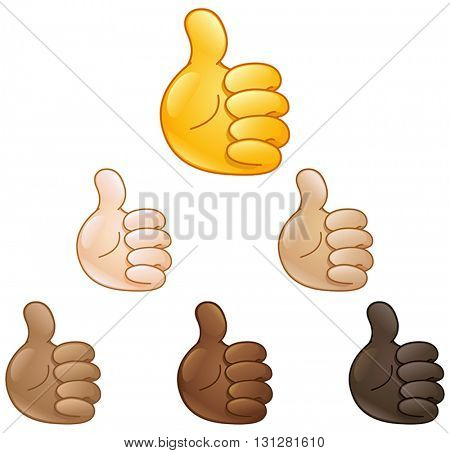 Thumbs up hand set of various skin tones