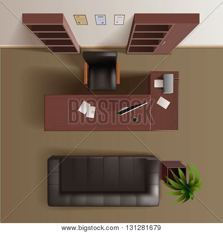 Office work room with wooden bookshelves desk computer plant and leather sofa top view realistic vector illustration