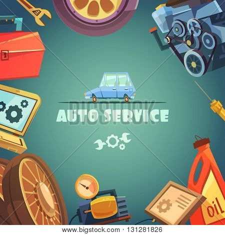 Auto service cartoon background with maintenance and repair symbols vector illustration