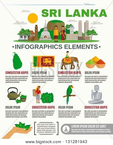 Infographic showing Major attractions and features Sri Lanka culture vector illustration