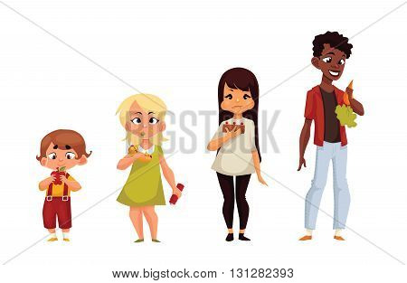 Other children eat different food, comic cartoon vector illustration isolated on white background, children eat a useful and healthy food that kids eat harmful calorie fast food, kids meals