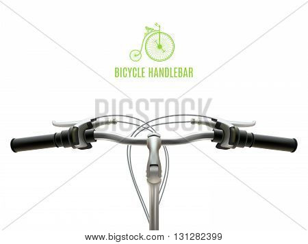 Poster with realistic bicycle handlebar iron with black rubber grips on white background vector illustration