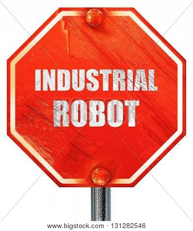 industrial robot, 3D rendering, a red stop sign