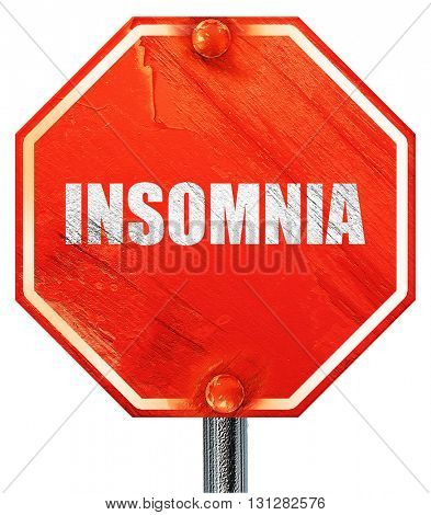 insomnia, 3D rendering, a red stop sign