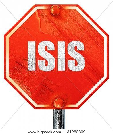 isis, 3D rendering, a red stop sign