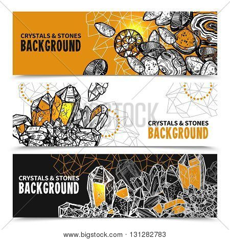 Crystals And Stones Sketch Concept. Crystals And Stones Horizontal Banners. Crystals And Stones Vector Illustration. Crystals Hand Drawn Set. Crystals And Stones Design Symbols.