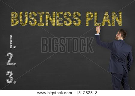 Business Plan Drawing on Blackboard Working Conceptual Business Concept