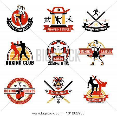 Martial clubs colorful emblems with edged weapon sumo boxing chinese temple combat skill school isolated vector illustration