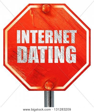 internet dating, 3D rendering, a red stop sign