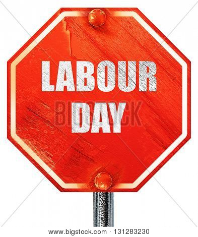 labour day, 3D rendering, a red stop sign