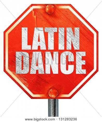 latin dance, 3D rendering, a red stop sign
