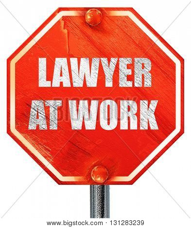 lawyer at work, 3D rendering, a red stop sign
