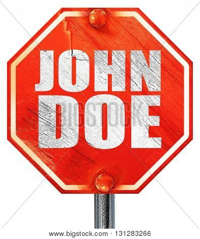 John doe, 3D rendering, a red stop sign