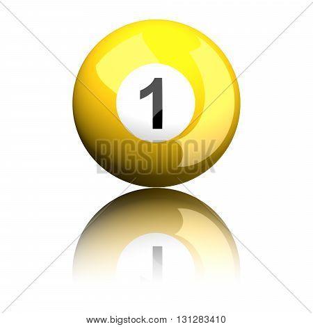 Billiard Ball Number 1 3D Rendering