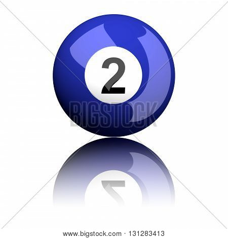 Billiard Ball Number 2 3D Rendering