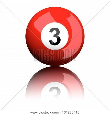 Billiard Ball Number 3 3D Rendering