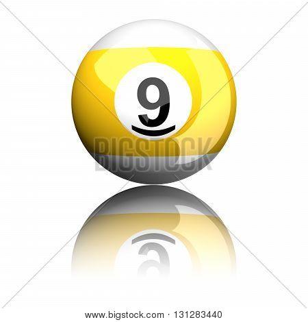 Billiard Ball Number 9 3D Rendering