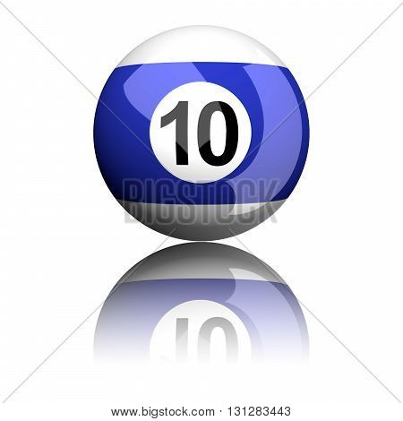 Billiard Ball Number 10 3D Rendering