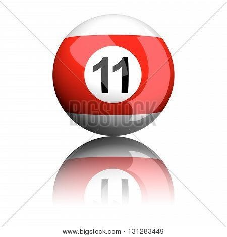 Billiard Ball Number 11 3D Rendering