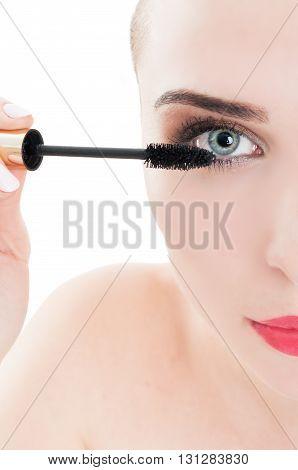 Female Model Eyelash And Mascara Brush