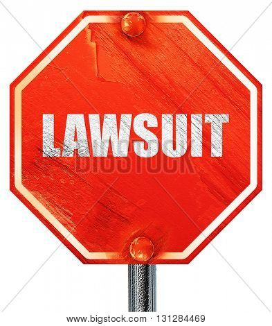 lawsuit, 3D rendering, a red stop sign