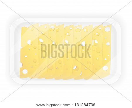 sliced cheese in the package vector illustration isolated on white background