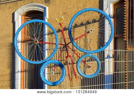 AMSTERDAM, NETHERLANDS - MAY 4, 2013: Bicycling is one of the main features of Dutch life. Craftsmen from Amsterdam even made antenna of bicycles.