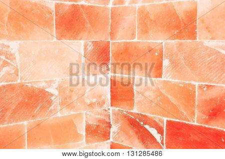 Close-up Of Orange Salty Wall Inside Sauna Room