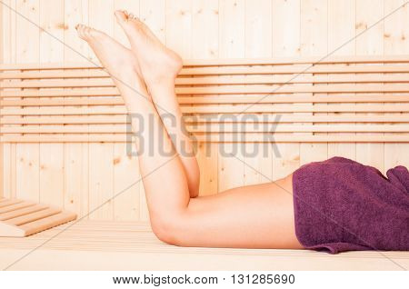 Close-up Photo Of Smooth Women Legs At Sauna