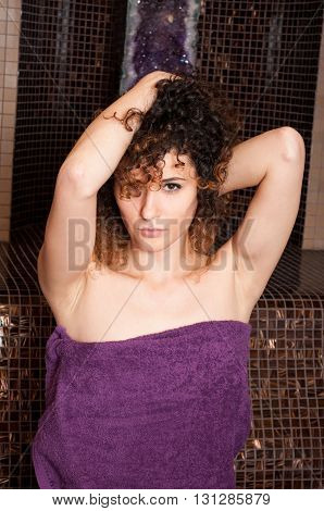 Attractive Curly Woman Relaxing In Turkish Steam Bath