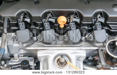 Oil Cap in an Automobile Engine. engine, car, motor, vehicle,