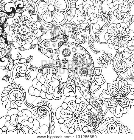 Chameleon in fantasy forest. Animals. Hand drawn doodle. Ethnic patterned illustration. African, indian, totem tatoo design. Sketch for avatar, tattoo, poster, print or t-shirt.