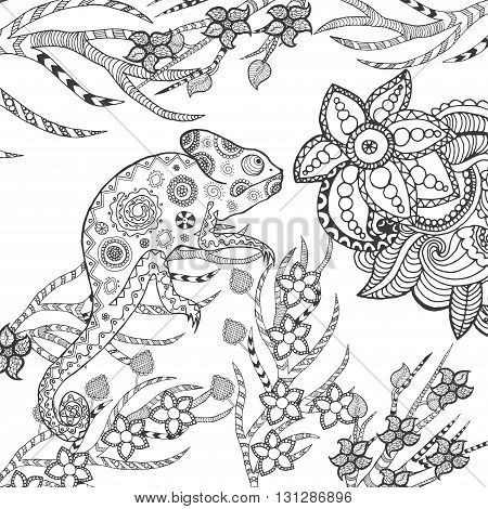 Chameleon in fantasy garden. Animals. Hand drawn doodle. Ethnic patterned illustration. African, indian, totem tatoo design. Sketch for avatar, tattoo, poster, print or t-shirt.