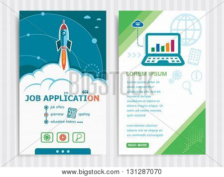 Project Job Application Concepts And Set Of Banners.
