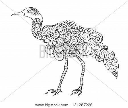 Beautifull bird. Black white hand drawn doodle animal. Ethnic patterned vector illustration. African, indian, totem, tribal, zentangle design. Sketch for colouring page, tattoo, poster, print, t-shirt