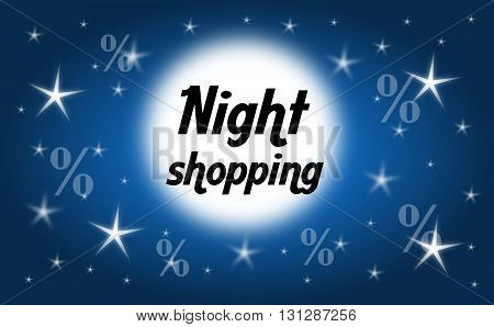 Dark blue background with shining stars and moon with text night shopping