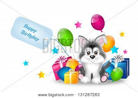 Cute illustration of siberian husky puppy with birthday gifts and balloons