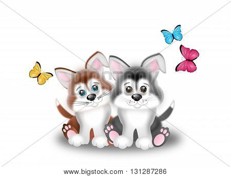 Cute illustration of two puppies with butterflies