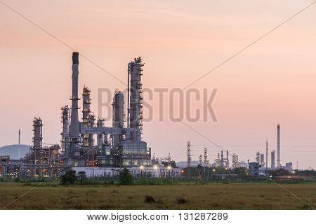 Oil Refinery Factory In Morning Sunrise