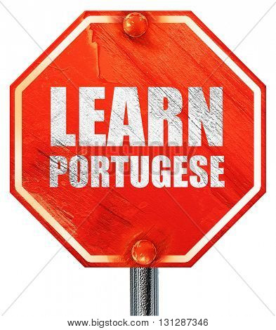 learn portugese, 3D rendering, a red stop sign