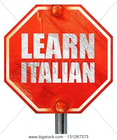 learn italian, 3D rendering, a red stop sign