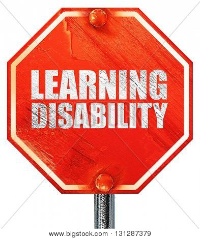 learning disability, 3D rendering, a red stop sign