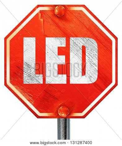 led, 3D rendering, a red stop sign