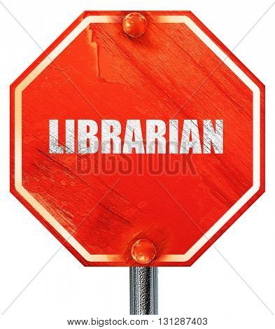 librarian, 3D rendering, a red stop sign