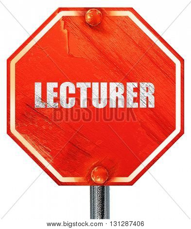 lecturer, 3D rendering, a red stop sign