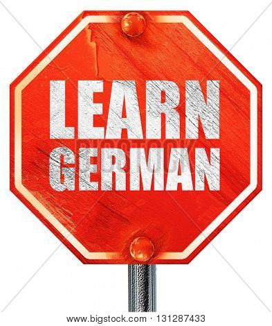 learn german, 3D rendering, a red stop sign