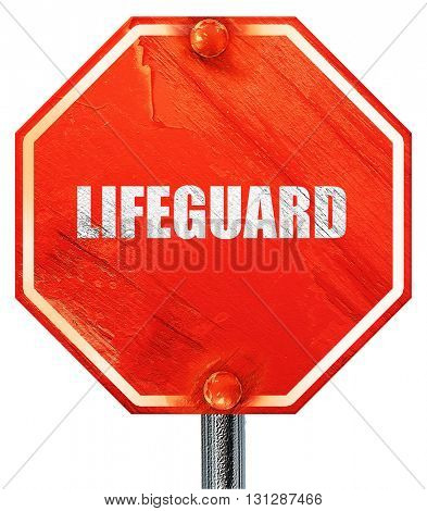 lifeguard, 3D rendering, a red stop sign