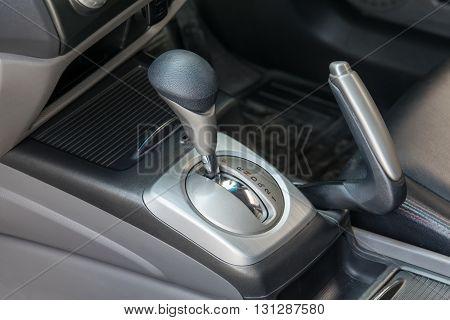 Car interior. Automatic transmission gear shift. interior, car, stick, move,